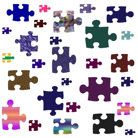 jumble: assorted color and texture puzzle pieces on white