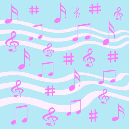 pastel  musical notes scattered on blue background  Stock Photo