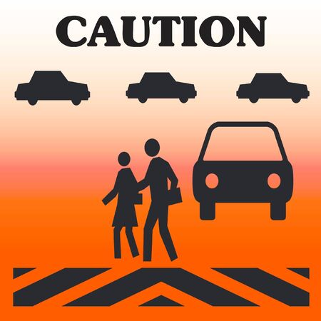 caution crossing in traffic  pedestrian safety poster Stock fotó