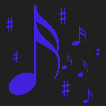 黒の背景に示す青音楽ノート 写真素材