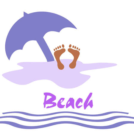 beach scene feet in the sand illustration  Stock fotó