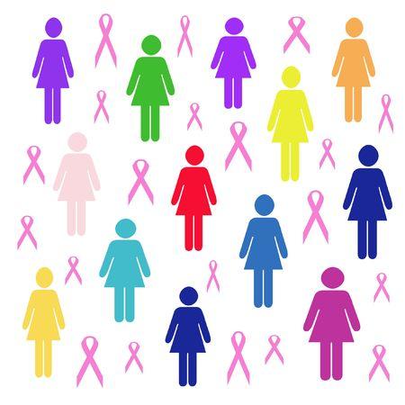 散在のピンクのリボンとマルチ色の女性