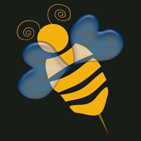 Résumé et l'or noir Bumble Bee sur fond Banque d'images - 973987