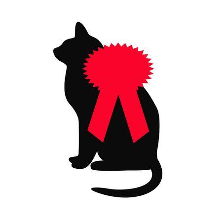 ベスト猫ショーのための賞を受賞赤リボン