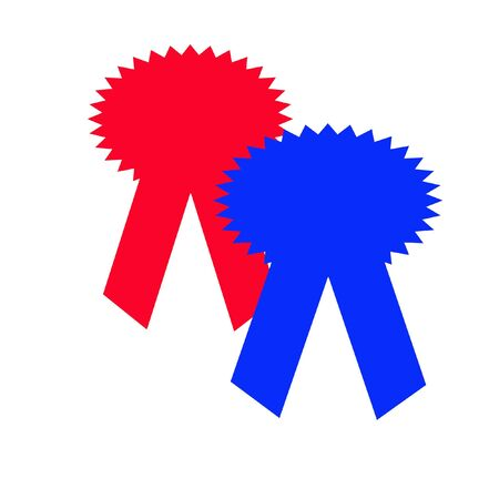 red and blue award ribbon for best of show Stock Photo - 1000590