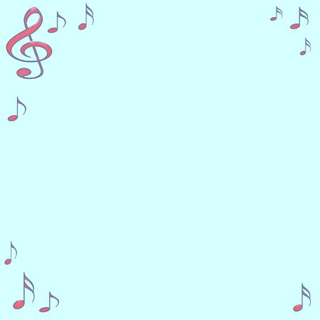 assorted abstract music notes  border on blue background
