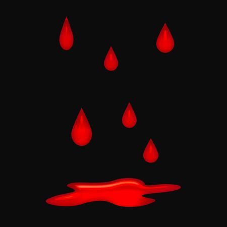 blood drops falling on background with puddle Stock Photo