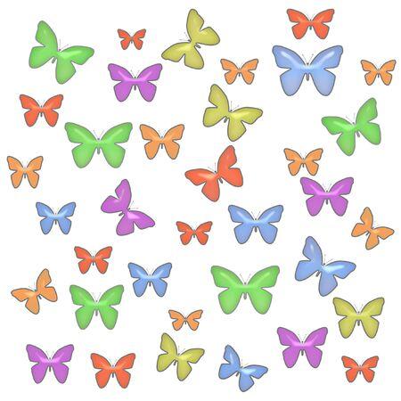 白い背景の上に散らばってカラフルなパステル カラーの蝶