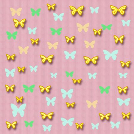 colorful 3d  butterflies scattered on pink  background Stock Photo - 1149127