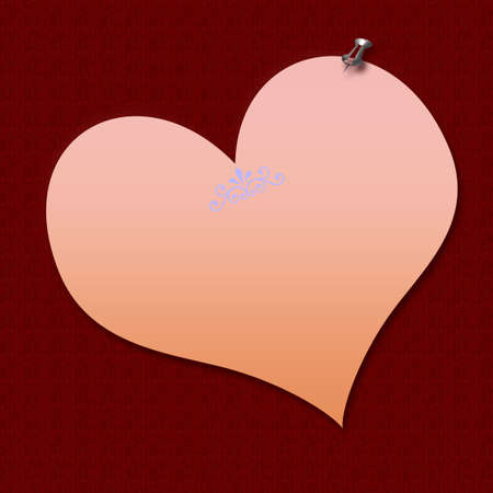 thumbtacked: pink heart shaped note thumbtacked on textured background Stock Photo