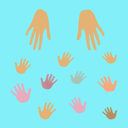 adult hands reaching out to small hands illustration