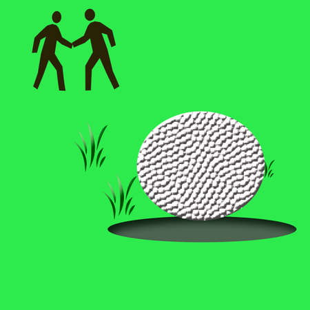 hole in one: golf  hole in one illustration on  green background