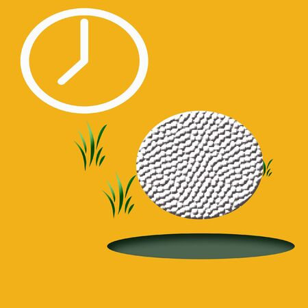 golf  hole in one illustration on  gold background