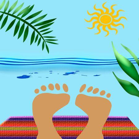 bask: feet sunbathe on beach towel with ocean background Stock Photo