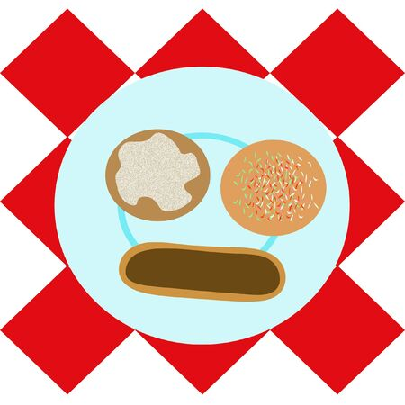 赤の市松模様のテーブル クロスに青プレート上のドーナツ