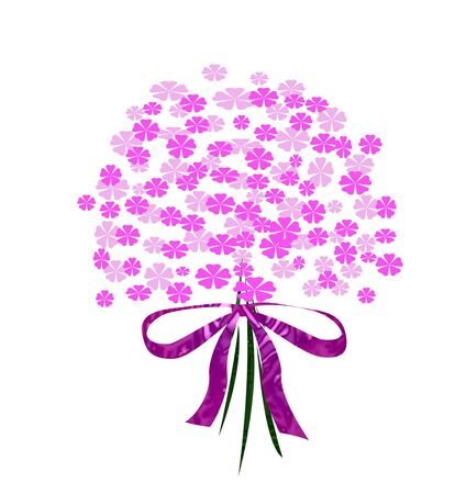 pink flower bouquet with pink  ribbon illustration