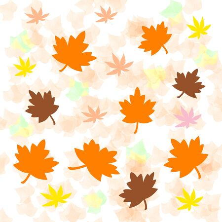 colorful autumn leaves scattered  on mottled  background