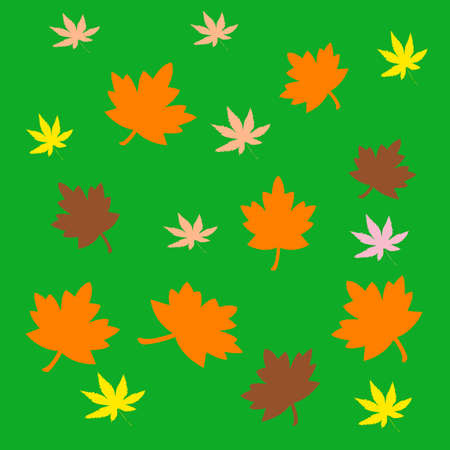 waft: colorful autumn leaves scattered  on green  background Stock Photo