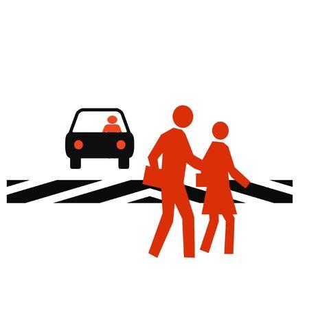 help: pedestrians in a crosswalk with traffic white background Stock Photo