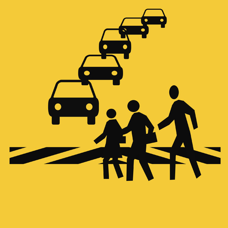 autos: pedestrians in a crosswalk with traffic gold background Stock Photo