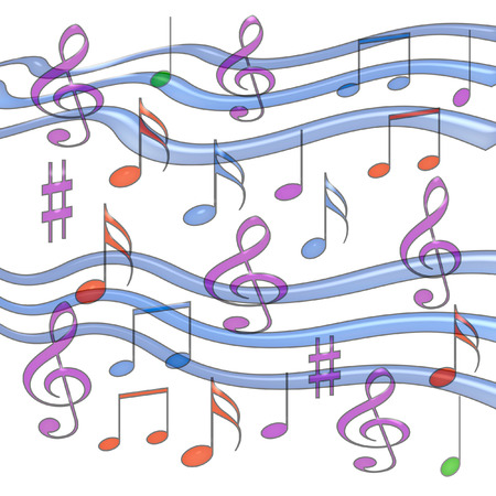 jell music notes assorted on white background Stock Photo