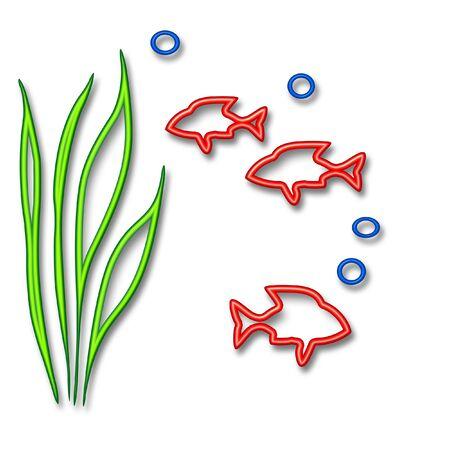 abstract fish in underwater scene  white  background