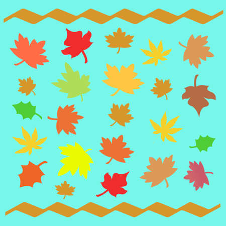 waft: colorful autumn leaves scattered  on blue background