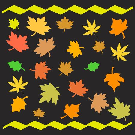 waft: colorful autumn leaves scattered  on black background