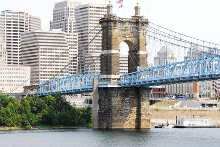 Cincinnatis historical suspension bridge over the Ohio river