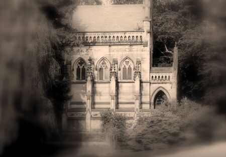 crypt: spooky Gothic crypt on secluded graveyard road