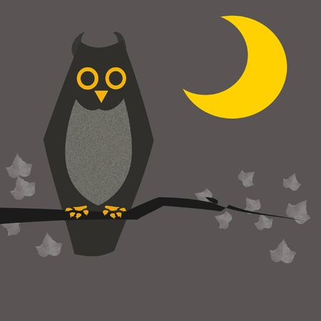 owl illustration: Halloween sign, owl and moon on gray background