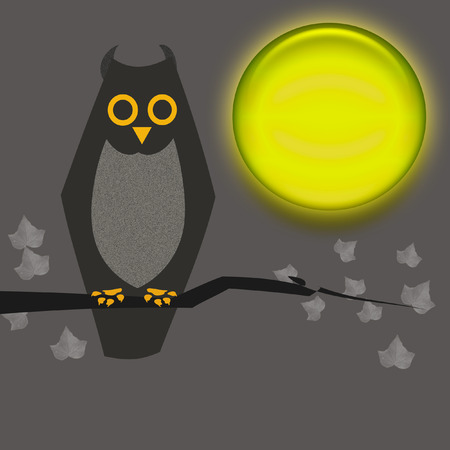 Halloween sign, owl and moon on gray background