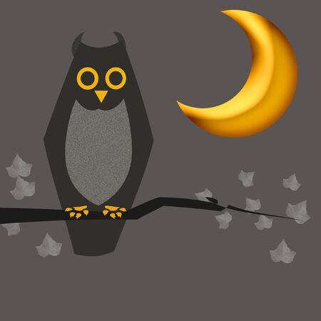 Halloween sign, owl and moon on gray background photo