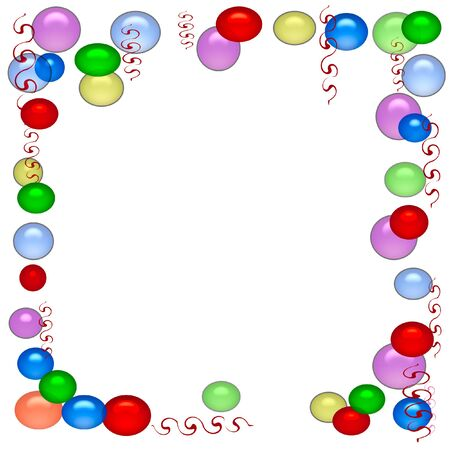 party balloons and streamers frame white   background Stock Photo
