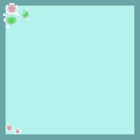 pink flowers leaves and frame on blue background photo