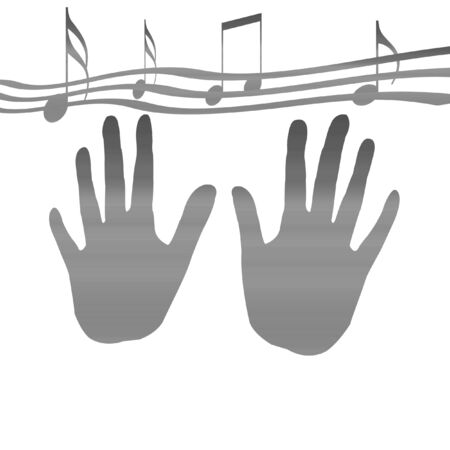 hands in the fog with music notes Stock Photo - 1534632