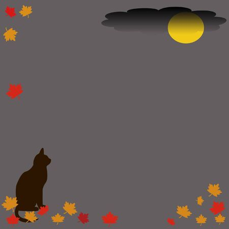 autumn leaves and black cat  border on gray background photo