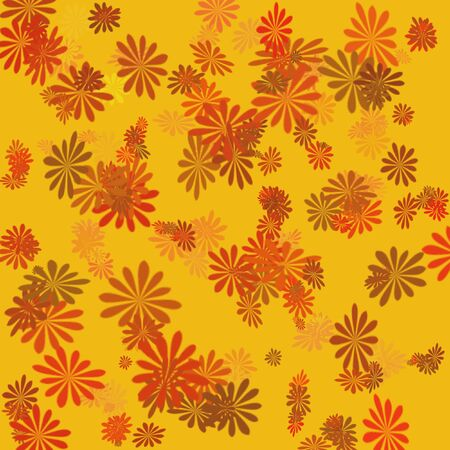 bright autumn flowers scattered on  orange  background