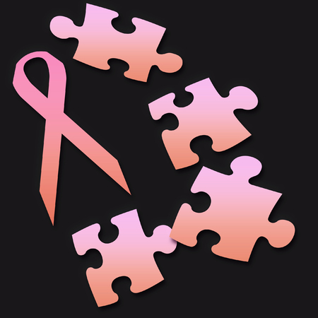 pink ribbon and puzzle pieces  breast cancer on black background Stock Photo
