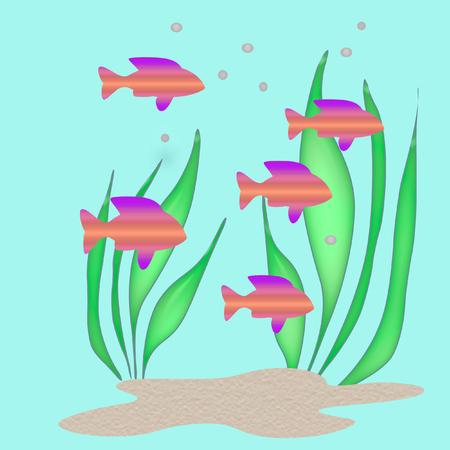 neon fish: bright tropical 3d fish swim on  blue background Stock Photo