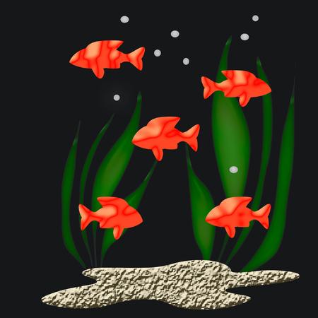 黒の背景に明るい 3 d 熱帯魚の泳ぐ