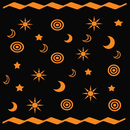 astronomical: orange astronomical shapes gift bag  black background Stock Photo