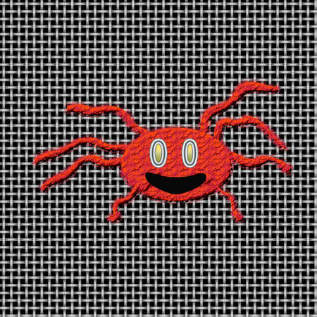 red fuzzy spider on screen  illustrated Stock Photo - 1613568