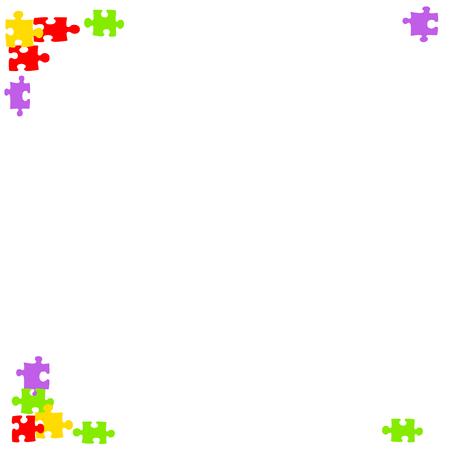 白いメモ用紙に境界線のカラフルなパズルのピース 写真素材