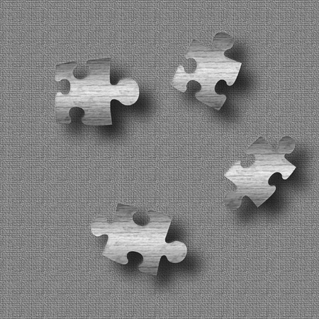 metal puzzle pieces on gray textured background illustration Stock fotó