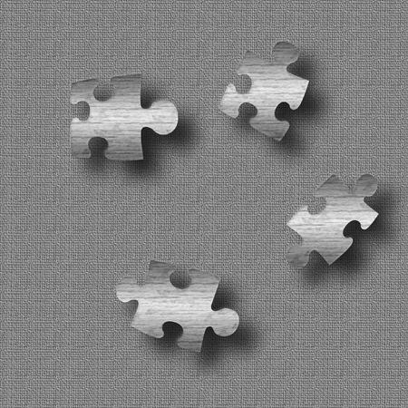 metalen puzzel stukjes op getextureerd grijze achtergrond afbeelding