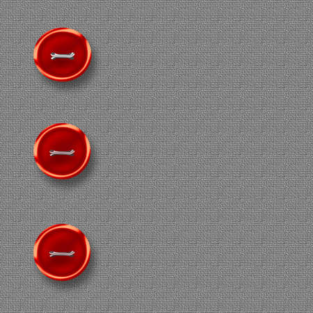 tweed: big red  buttons on gray tweed material illustration Stock Photo