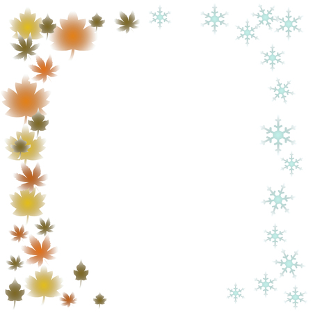 note paper leaves and snowflakes frame on white background