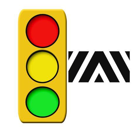 赤い緑と黄色の光のイラストの交通信号