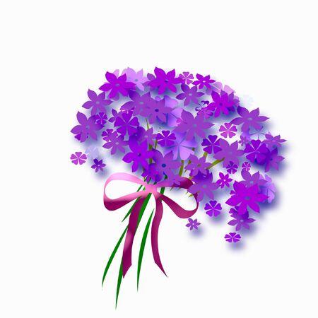 花と白い背景の上の弓の花束